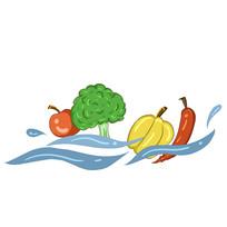 手绘新鲜果蔬创意绿色健康食堂文化插画元素