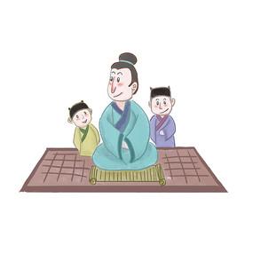 手绘中国风校园文化博学插画元素