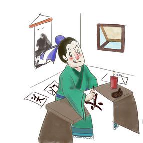 手绘中国风校园文化励志插画元素