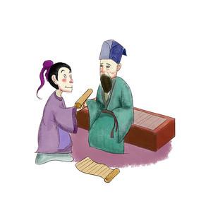 手绘中国风校园文化求知插画元素