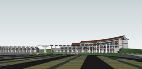 新中式风格度假酒店SU模型