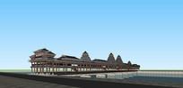 中式侗族廊桥构筑物SU模型