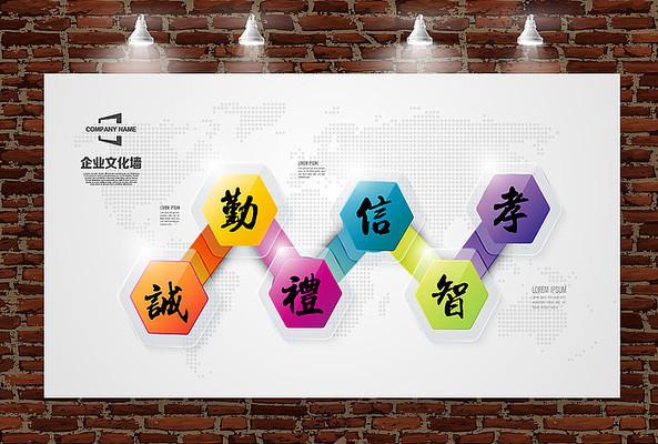 简约几何立体企业发展历程形象墙