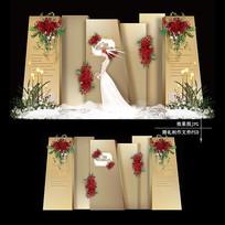 金色高端主题婚礼效果图设计婚庆舞台背景