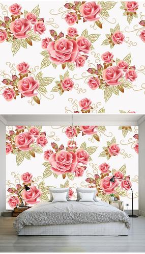 浪漫粉色玫瑰花矢量卧室背景墙