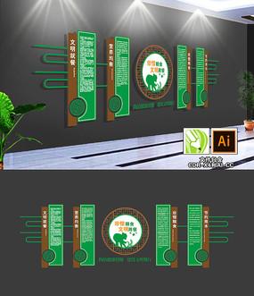 绿色大气食堂文化墙