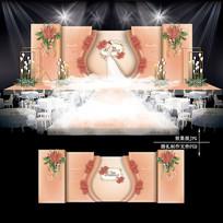 珊瑚橘大理石纹主题婚礼效果图设计婚庆背景
