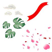 手绘树叶叶子散落的花瓣祥云装饰元素