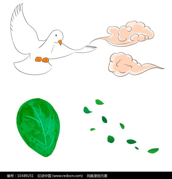 手绘树叶叶子散落的叶子祥云鸽子装饰元素图片