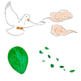 手绘树叶叶子散落的叶子祥云鸽子装饰元素