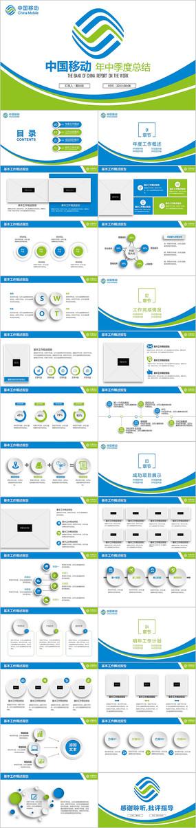蓝绿色中国移动通信公司工作总结计划PPT