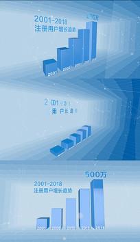 4K蓝色联网科技宣传片柱状图图表ae模版