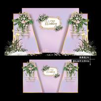 粉色大理石纹主题婚礼梦幻婚庆背景板