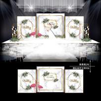 白绿色小清新主题婚礼效果图设计欧式婚庆