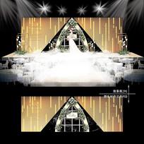 黑金色高端主题婚礼效果图设计婚庆舞台