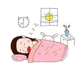 原创手绘卡通女孩睡觉