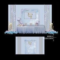 雾霾蓝大理石纹婚礼效果设计