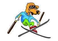 AI矢量卡通狗-滑雪