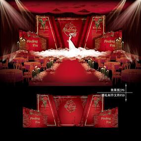 红金色复古婚礼舞台效果图设计婚庆背景