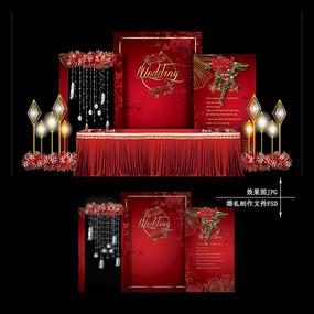红金色复古婚礼效果图设计大理石纹婚庆