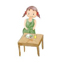 卡通饮食的小女孩校园文化健康饮食插画