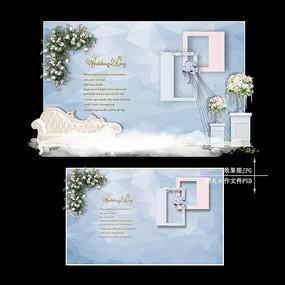 蓝灰色婚礼迎宾区效果图设计婚庆舞台背景