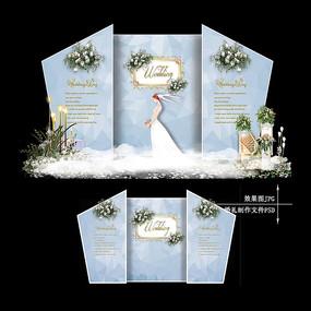 蓝灰色婚礼迎宾区效果图设计简单婚庆舞台