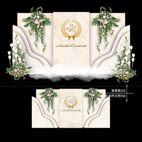 香槟色复古婚礼迎宾区效果图设计欧式婚庆
