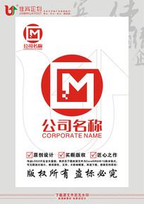 GM英文字母科技图形标志设计
