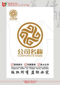 G英文字母古钱币金融标志设计