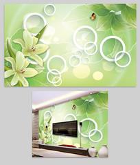 绿色树叶3d电视墙设计
