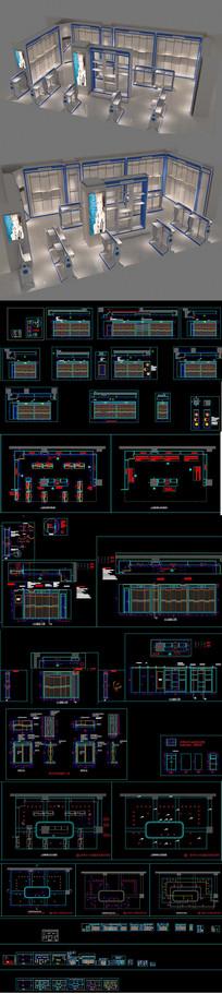 全套时尚童装店CAD施工图 效果图