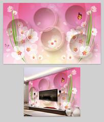 透明花3D立体背景墙