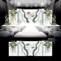 白绿色主题婚礼效果图设计小清新婚庆舞台
