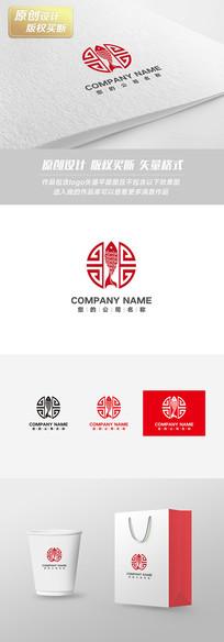 红色古典鱼锅店面logo设计