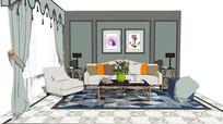 简欧轻奢客厅沙发茶几窗帘组合