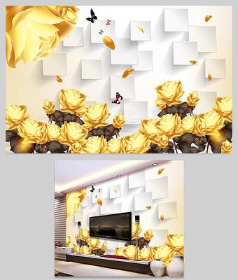 金色玫瑰花中式电视背景墙百福图壁画