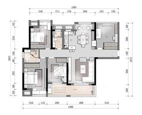 轻奢精装样板房四房两厅彩平图 PSD