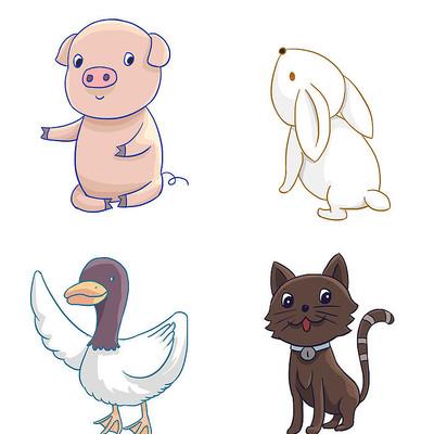 原创卡通可爱猪兔子鸭子猫动物插画