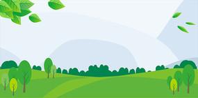 绿色草地卡通背景
