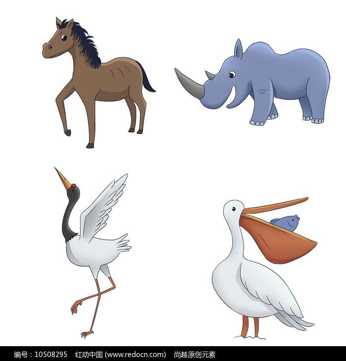 原创卡通可爱马犀牛丹顶鹤鹈鹕动物插画图片