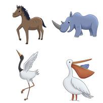 原创卡通可爱马犀牛丹顶鹤鹈鹕动物插画
