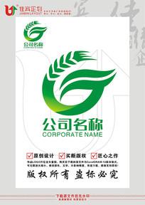 G英文字母麦穗绿叶标志设计