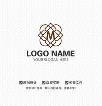 M字母花元素酒店LOGO设计