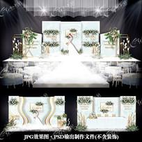 白绿色小清新婚礼效果图设计欧式婚庆背景