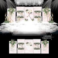 粉色水彩浪漫婚礼效果图设计韩式婚庆背景