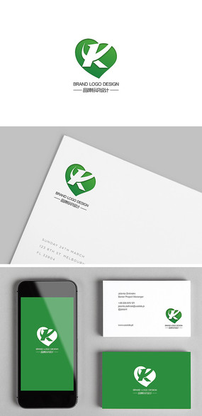 绿色保健品心脏K字母标志设计