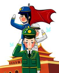 原创元素国庆军人敬礼卡通