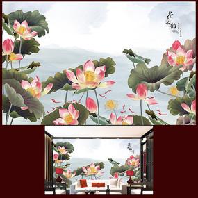 中国风荷花客厅沙发背景墙