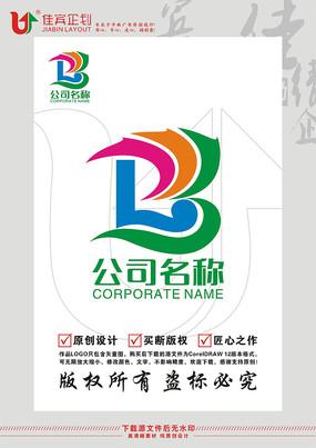 B英文字母彩带标志设计